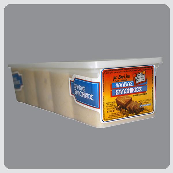 Halva Salonikios Vanilla / Pistachio / Cocoa / Peanut 2,5kg Plastic Tapper Block Image